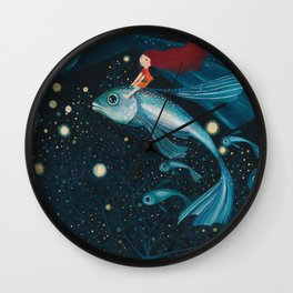 flying with fish Wall Clock