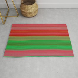red and green horizontal lines Rug