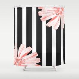 Cichoriums on stripes Shower Curtain