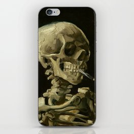 Skull of a Skeleton with Burning Cigarette - Van Gogh iPhone Skin