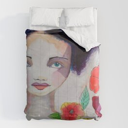 Blue Haired Whimsical Girl Colorful Flowers Comforters