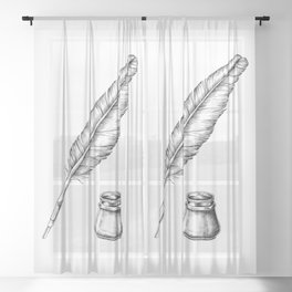 Quill Pen with an Inkwell Sheer Curtain