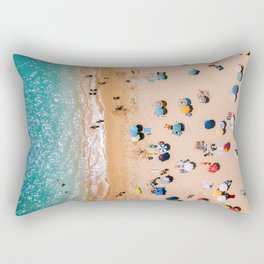 People On Algarve Beach In Portugal, Drone Photography, Aerial Photo, Ocean Wall Art Print Rectangular Pillow