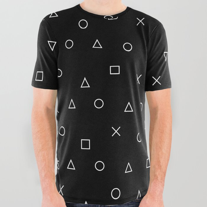 d625e09fa9bb black gaming pattern - gamer design - playstation controller symbols All  Over Graphic Tee