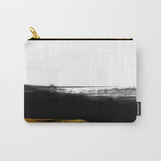 Black and Gold grunge stripes on clear white backround - Stripe- Striped Carry-All Pouch