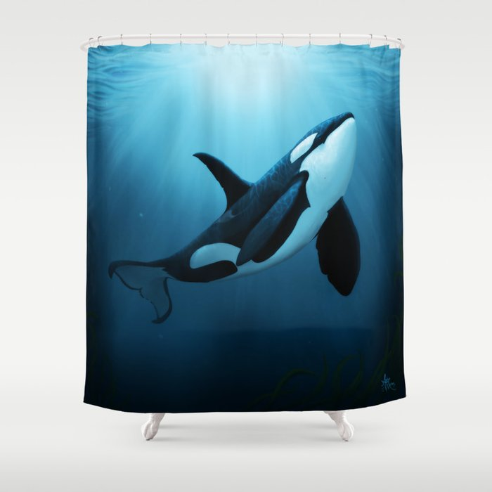 The Dreamer By Amber Marine Orca Killer Whale Art Copyright 2015 Shower Curtain Aroseart