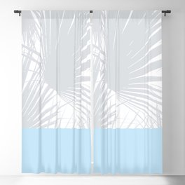 Tropical Pastel Grey Palm Leaves on Soft Blue Blackout Curtain