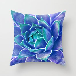 Suculenta Azul Throw Pillow