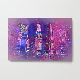 New York City Lights in Watercolor Metal Print