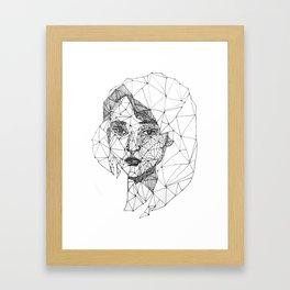 Monochrome Ink-pen Girl Face Framed Art Print