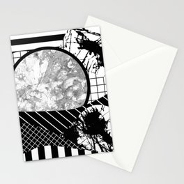 Eclectic Black And White - Black and White Abstract Patchwork Textured Design Stationery Cards