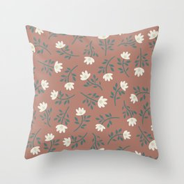 Scattered Flowers on Vintage Pink Throw Pillow