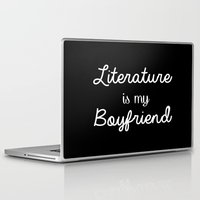 literature Laptop & iPad Skins featuring Literature is my boyfriend black by Beautiful Bibliophile's Boutique