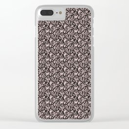 Rose Pearl on Blackberry Syrup Floral Swirls Pattern Clear iPhone Case