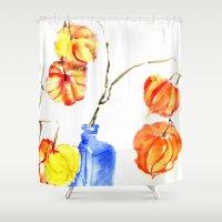 lanterns Shower Curtains featuring Chinese Lanterns by Kate Havekost Fine Art