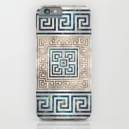 Greek Key Ornament - Greek Meander -Abalone and gold iPhone Case