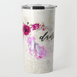 Dance with Ballet Shoes with a Floral Poppy Frame Travel Mug