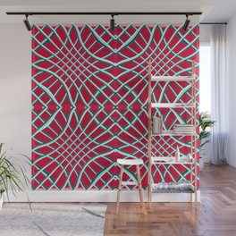 Red Grids and Grooves Wall Mural