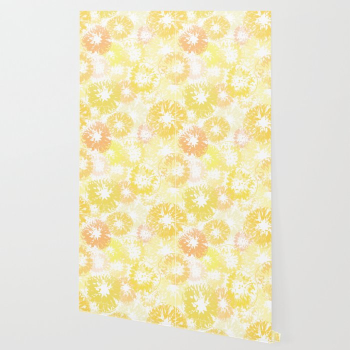 Sunny Yellow Lemon Orange Citrus Print Pattern Wallpaper By