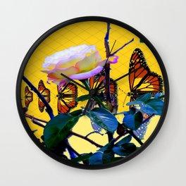 MONARCH BUTTERFLIES & ROSE ABSTRACT Wall Clock