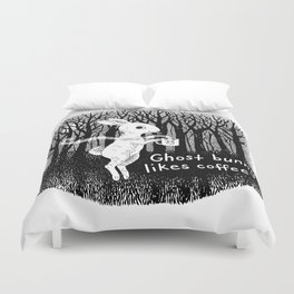 Ghost bunny likes coffee Duvet Cover