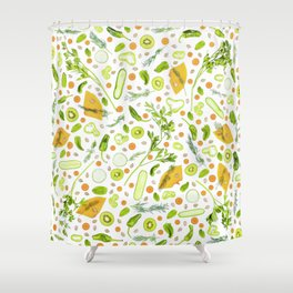 Fruits and vegetables pattern (20) Shower Curtain