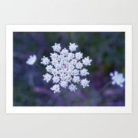 snowflake Art Prints featuring Snowflake by The Last Sparrow