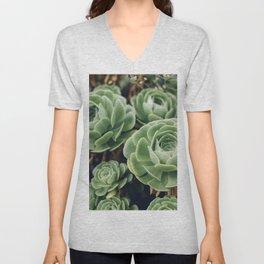 Green Succulent Photo Unisex V-Neck