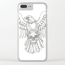American Eagle Clutching Skull Doodle Clear iPhone Case