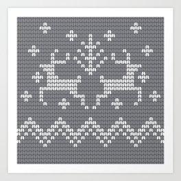 Christmas Fair Isle Style Deer in Gray Art Print