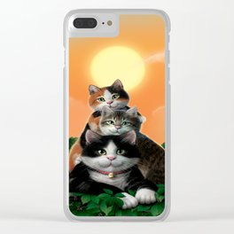 "Mosky Cat ""Father&sons"" Clear iPhone Case"