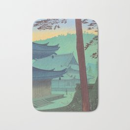 Asano Takeji Japanese Woodblock Print Vintage Mid Century Art Teal Turquoise Sunrise Shrine Bath Mat