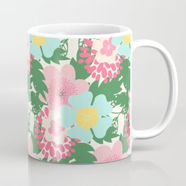 Modern pink teal green botanical tropical floral illustration Coffee Mug