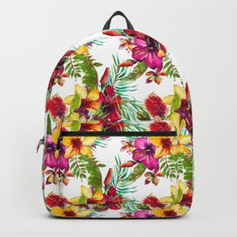 Elegant pink fuchsia yellow watercolor tropical summer floral Backpack