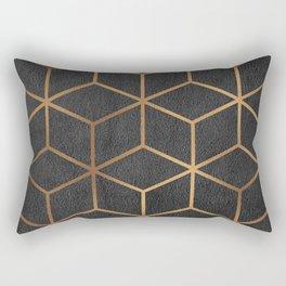 Charcoal and Gold - Geometric Textured Cube Design I Rectangular Pillow