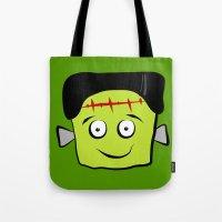 frankenstein Tote Bags featuring Frankenstein by Jessica Slater Design & Illustration
