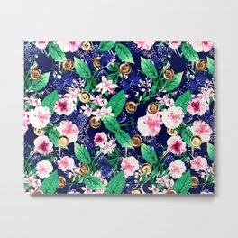 Floral and Buttons Metal Print