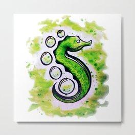 Green Seahorse Metal Print