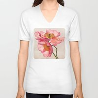 peach V-neck T-shirts featuring Like Light through Silk - peach / pink translucent poppy floral by micklyn