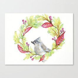 Bird in Christmas Wreath Canvas Print