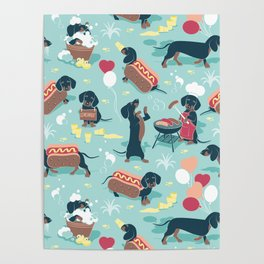 Hot dogs and lemonade // aqua background navy dachshunds Poster