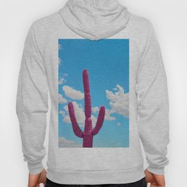 Pink Saguaro Against Blue Cloudy Sky Hoody