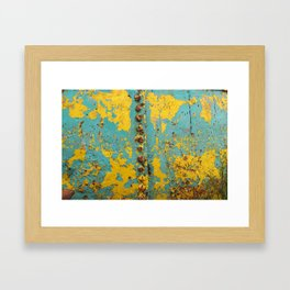 yellow and blue worn paint and rust texture Framed Art Print