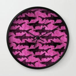 Hot Pink Shark Attack Wall Clock