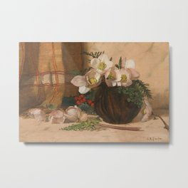Still Life with Roses, Charles Ethan Porter, 1887 Metal Print