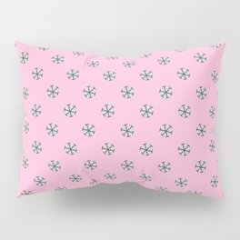 Cadmium Green on Cotton Candy Pink Snowflakes Pillow Sham