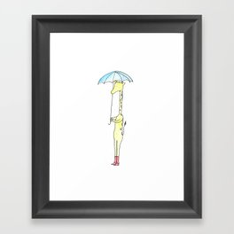 Gloria the Giraffe (avec umbrella) Framed Art Print