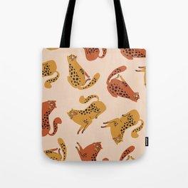 Yellow Orange Leopard Spots Sensual Chubby Butt Kitty Cats Pattern Tote Bag