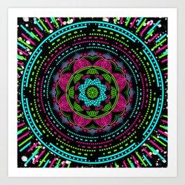 Mandala Energy in Neon Art Print