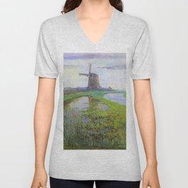 Oriental Mill Along The River Gein By Moonlight - Piet Mondrian Unisex V-Neck